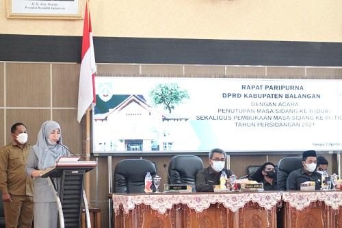 Dewan Perwakilan Rakyat Daerah (DPRD) Kabupaten Balangan menutup Masa Sidang ke-II dan membuka Masa sidang ke III Tahun Persidangan 2021